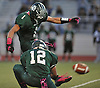 Jeremy Ruckert #1 of Lindenhurst kicks his first of three field goals in the first half of a Suffolk County Division I varsity football game against Ward Melville at Lindenhurst Middle School on Friday, Oct. 7, 2016. Lindenhurst went to halftime leading 16-7.