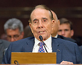Former United States Senate Majority Leader Bob Dole (Republican of Kansas) makes remarks introducing US Representative Mike Pompeo (Republican of Kansas) to the US Senate Select Committee on Intelligence during a confirmation hearing on Pompeo's nomination to be Director of the Central Intelligence Agency (CIA) on Capitol Hill in Washington, DC on Thursday, January 12, 2017.<br /> Credit: Ron Sachs / CNP