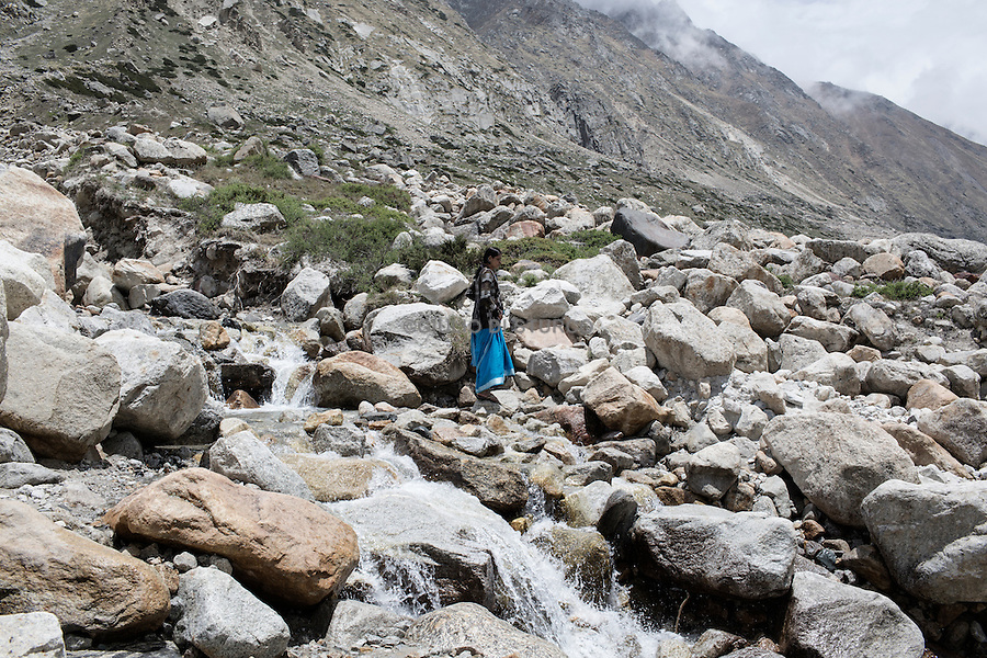 """INDIA, GANGOTRY JUNE 2015;<br /> Gangotri Glacier is one of the primary sources of the Ganges and it is one of the largest in the Himalayas with an estimated volume of over 27 cubic kilometers. The terminus of the Gangotri Glacier is said to resemble a cow's mouth, and the place is called Gomukh.<br /> The Gangotri glacier is a traditional Hindu pilgrimage site. Devout Hindus consider bathing in the icy waters near Gangotri town to be a holy ritual, and many made the trek to Gomukh. The Gangotri glacier is rapidly disintegrating, states the latest observation of a team from the Almora-based G.B. Pant Institute of Himalayan Environment and Development.<br /> The team of the institute, which has been monitoring the Himalayan glaciers, particularly the Gangotri, since 1999, visited the glacier between June and October, this year. Kireet Kumar, Scientist in the Glacial Study Centre of the institute, said, """"Our team has been observing disintegration in the snout of the Gangotri glacier for around three year now """"<br /> A 2008 research report stated: """" The Gangotri glacier is retreating like other glaciers in the Himalayas and its volume and size are shrinking as well """"<br /> The glacier has retreated more than 1,500 meters in the last 70 years.<br />@Giulio Di Sturco"""