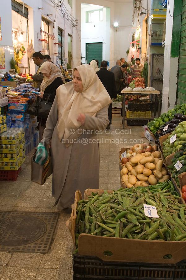 Tripoli, Libya - Libyan Woman Shopping for Fruits and vegetables, Rashid Street Market.