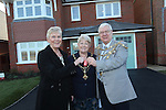 Kay Lavender the first resident at Redrow Homes Mon Bank development in Newport receives the keys to her new home from Mayor of Newport Councillor Cliff Suller and his wife Christine.<br /> 04.12.13<br /> &copy;Steve Pope-FOTOWALES