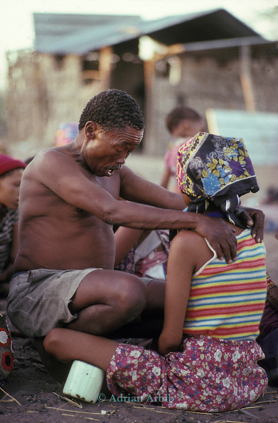San Bushman in trance during a healing ceremony.Tchumkwe, Bushman development foundation.  Namibia.