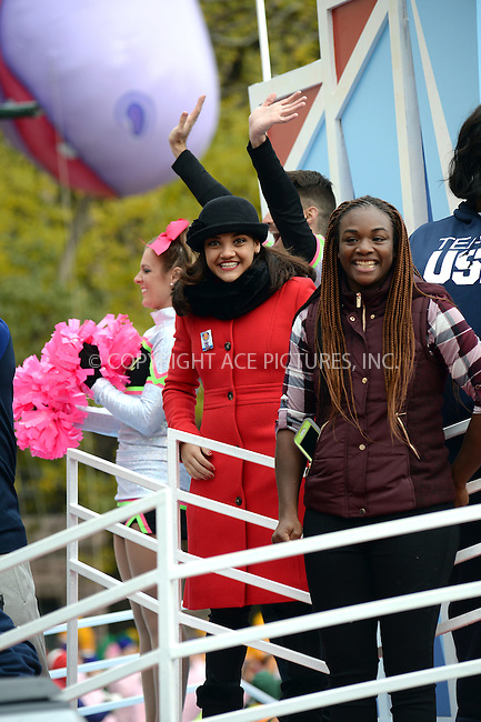 www.acepixs.com<br /> <br /> November 24 2016, New York City<br /> <br /> Laurie Hernandez (L) made an appearance at the 90th Annual Macy's Thanksgiving Day Parade on November 24, 2016 in New York City.<br /> <br /> By Line: Kristin Callahan/ACE Pictures<br /> <br /> <br /> ACE Pictures Inc<br /> Tel: 6467670430<br /> Email: info@acepixs.com<br /> www.acepixs.com
