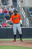Kelvin Beltre (29) of the Augusta GreenJackets at bat against the Kannapolis Intimidators at Intimidators Stadium on May 30, 2016 in Kannapolis, North Carolina.  The GreenJackets defeated the Intimidators 5-3.  (Brian Westerholt/Four Seam Images)