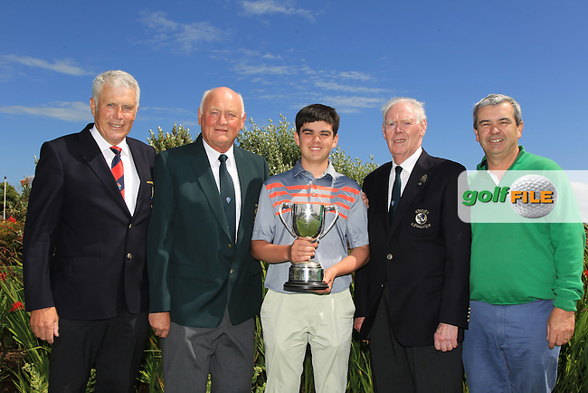 Marcus Conroy (Captain Galway Golf Club), Jimmy Duggan (Connacht G.U.I) and Jim McGovern (Chairman Connacht branch G.U.I) presents the cup to Ciaran Vaughan (Limerick) and his Dad Ger on winning the 2016 Connacht U18 Boys Open, played at Galway Golf Club, Galway, Galway, Ireland. 07/07/2016. <br /> Picture: Thos Caffrey | Golffile<br /> <br /> All photos usage must carry mandatory copyright credit (&copy; Golffile | Thos Caffrey)