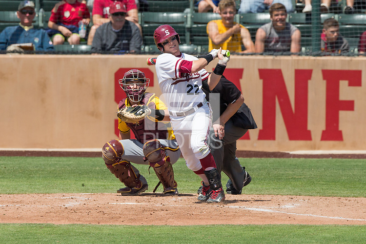 STANFORD, CA - April 24, 2016:  Stanford hosts Arizona State at Klein Field at Sunken Diamond. Arizona State won 8-7 in 10 innings. Alex Dunlap (22) hits a home run.