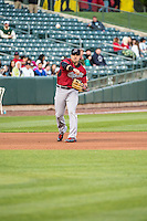 Adam Duvall (37) of the Sacramento River Cats on defense against the Salt Lake Bees in Pacific Coast League action at Smith's Ballpark on April 17, 2015 in Salt Lake City, Utah.  (Stephen Smith/Four Seam Images)