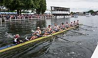Henley-on-Thames. United Kingdom.  Ladies Challenge  Cup, Brown University passing the progress board. 2017 Henley Royal Regatta, Henley Reach, River Thames. <br /> <br /> <br /> 15:06:14  Friday  30/06/2017   <br /> <br /> [Mandatory Credit. Peter SPURRIER/Intersport Images.