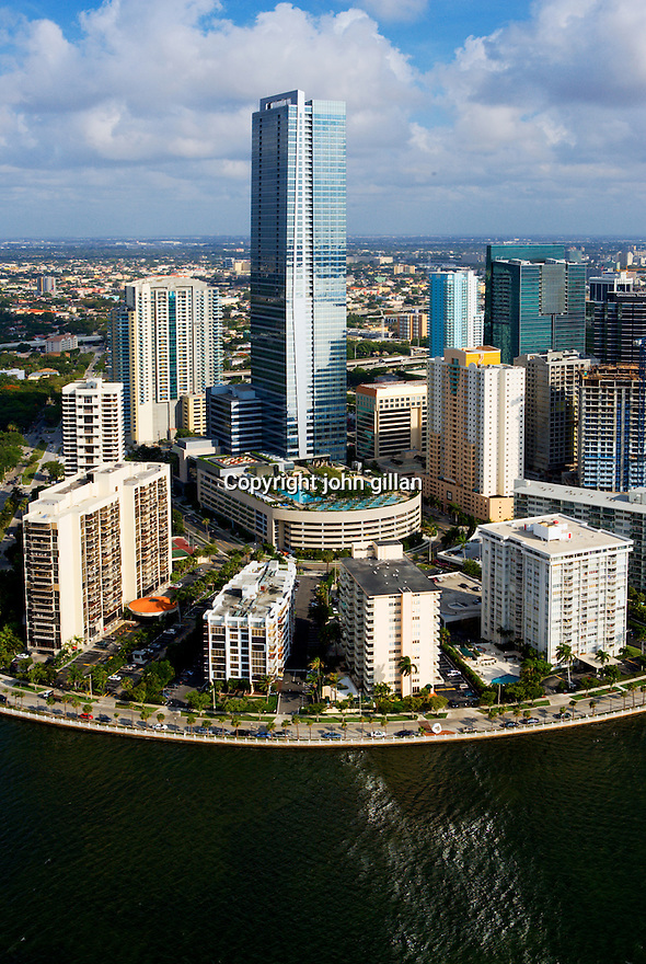 Exterior view of the Four Seasons Hotel from Biscayne Bay including surrounding buildings. WX3P825