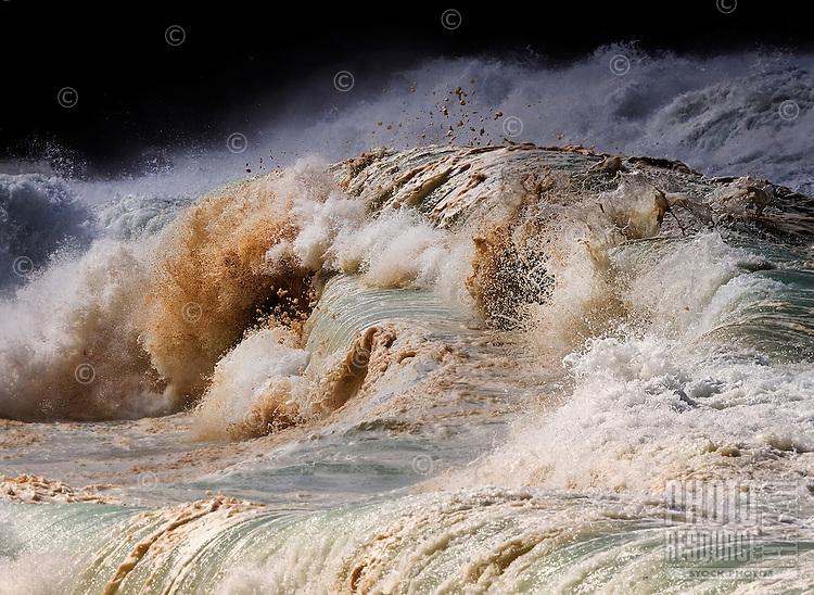 At winter, the Banzai Pipeline's shorebreak waves can reach 20 feet or higher off ofEhukai Beach Park,North Shore of O'ahu.