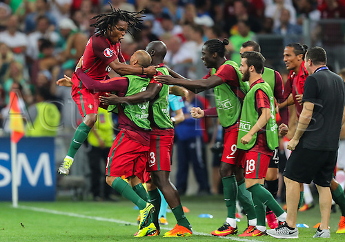 30.06.2016. Marseille, France. UEFA EURO 2016 quarter final match between Poland and Portugal at the Stade Velodrome in Marseille, France, 30 June 2016.   Renato Sanches (POR)  celebrates his equalising goal