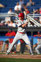 Auburn Doubledays second baseman Ian Sagdal (8) at bat during a game against the Batavia Muckdogs on July 10, 2015 at Dwyer Stadium in Batavia, New York.  Auburn defeated Batavia 13-1.  (Mike Janes/Four Seam Images)