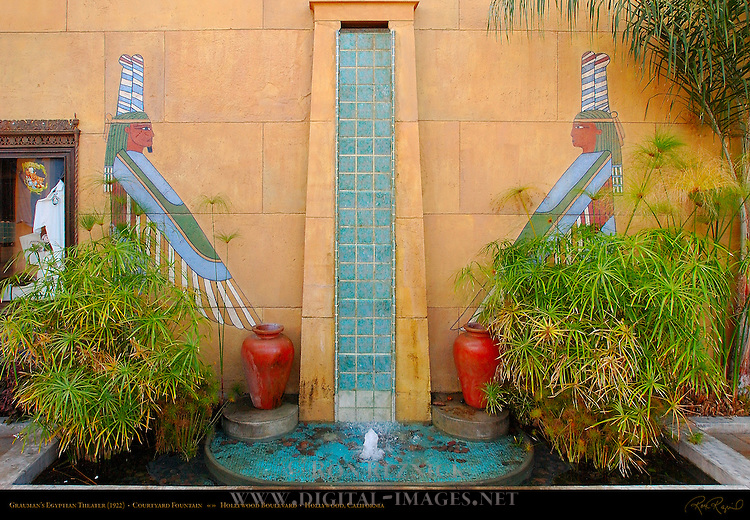 Grauman's Egyptian Theater 1922, Courtyard Fountain, Hollywood Boulevard, Hollywood, California