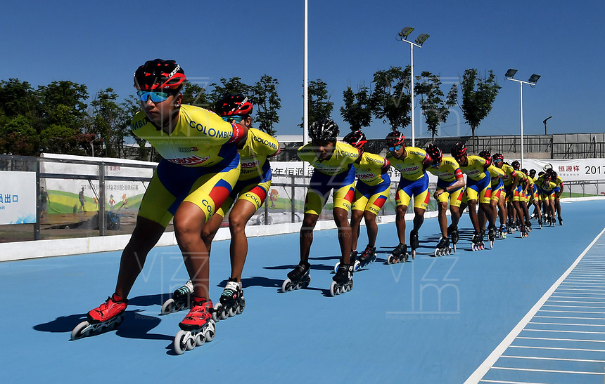NANJING - CHINA - 23 - 08 - 2017: Los patinadores de la Selección Colombia, durante entreno en el patinodromo Olimpico de Nanjing en la ciudad de Nainjing en La Republica Popular de China. /  The skaters of the Colombia Team, during a training at the skating rink Olimpic Patinodromo of Nanjing in the city of Nanjing in People's Republic of China. / Photo: VizzorImage / Luis Ramirez / Staff.