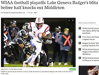 Middleton's Myron Ashford Jr. tries to break the tackle of Lake Geneva Badger's Will Keller, as Middleton takes on Lake Geneva Badger in Division 1 state football quarterfinals on Friday in Lake Geneva | Wisconsin State Journal front page Sports 11/5/16 and on-line at http://host.madison.com/wsj/sports/high-school/football/wiaa-football-playoffs-lake-geneva-badger-s-blitz-before-half/article_e5f45dab-e2ba-54ae-a580-485556ae70c7.html