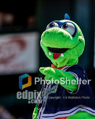 19 July 2018: The Vermont Lake Monsters Mascot Champ entertains fans during a game against the Staten Island Yankees at Centennial Field in Burlington, Vermont. The Lake Monsters edged out the Yankees 2-1 in NY Penn League action. Mandatory Credit: Ed Wolfstein Photo *** RAW (NEF) Image File Available ***
