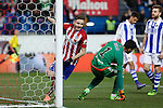 Atletico de Madrid´s Saul Niguez scores a goal to Real Sociedad´s goalkeeper Geronimo Rulli during 2015-16 La Liga match between Atletico de Madrid and Real Sociedad at Vicente Calderon stadium in Madrid, Spain. March 01, 2016. (ALTERPHOTOS/Victor Blanco)