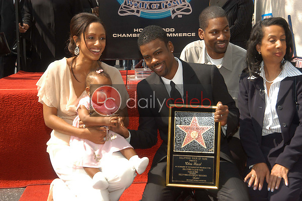 Chris Rock with wife Malaak Compton-Rock, daughter Lola, mother Rose and brother Tony