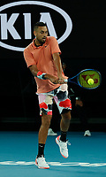 27th January 2020; Melbourne Park, Melbourne, Victoria, Australia; Australian Open Tennis, Day 8; Nick Kyrgios of Australia returns during his match against Rafael Nadal of Spain
