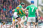 Paudie O'Connor Kilmoyley in action against Padraig O'Grady Ballyduff in the County Senior Hurling Final at Austin Stack Park on Sunday.