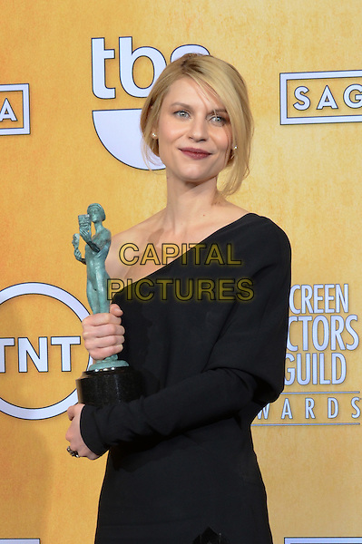 Claire Danes (wearing Givenchy).Pressroom at the 19th Annual Screen Actors Guild Awards held at The Shrine Auditorium, Los Angeles, California, USA..27th January 2013.SAG SAGs half length black one shoulder sleeve dress award trophy winner  .CAP/ADM/TW.©Tonya Wise/AdMedia/Capital Pictures.
