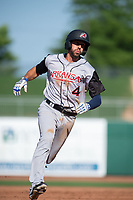 Arkansas Travelers infielder Mike Ahmed (4) runs for third during a Texas League game between the Northwest Arkansas Naturals and the Arkansas Travelers on May 30, 2019 at Arvest Ballpark in Springdale, Arkansas. (Jason Ivester/Four Seam Images)
