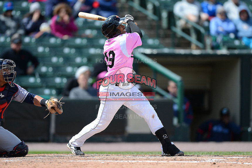 Rochester Red Wings second baseman Eric Farris #39 during a game against the Columbus Clippers on May 12, 2013 at Frontier Field in Rochester, New York.  Rochester defeated Columbus 5-4 wearing special pink jerseys for Mother's Day.  (Mike Janes/Four Seam Images)