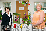 Margaret Groves from Ballymac who won first prize in the class 4 in the frame at the flower show on Saturday at Feile Na mBlath and Ann Sullivan from Kildara, Oakpark who won 3rd prize in the same category at the At the Feile na Blath Flower Competition  in the Town park on Saturday