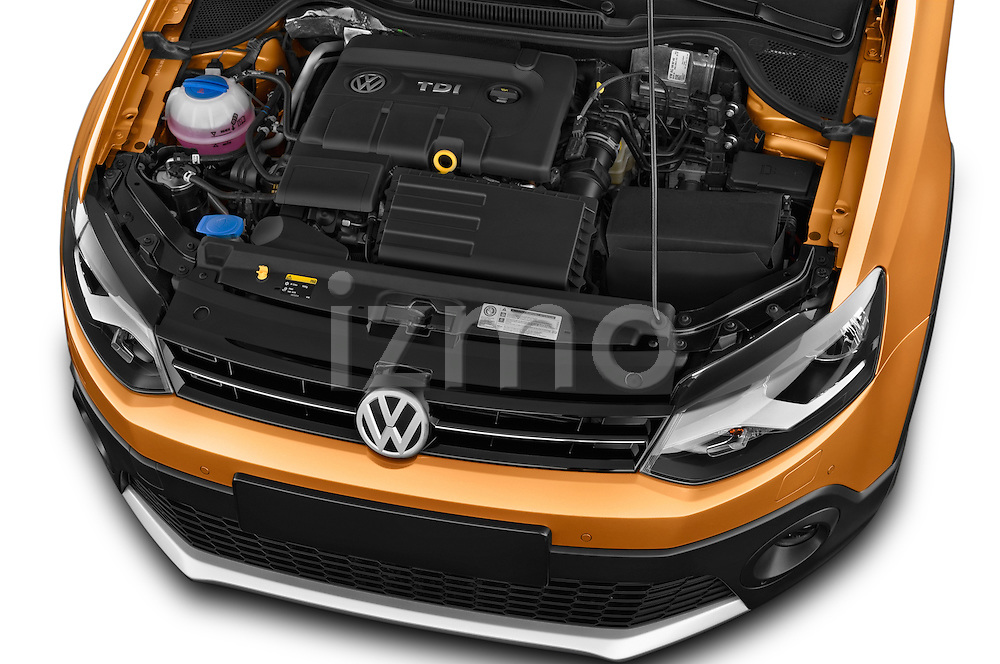 Car Stock 2015 Volkswagen Polo Cross 5 Door Hatchback 2WD Engine high angle detail view