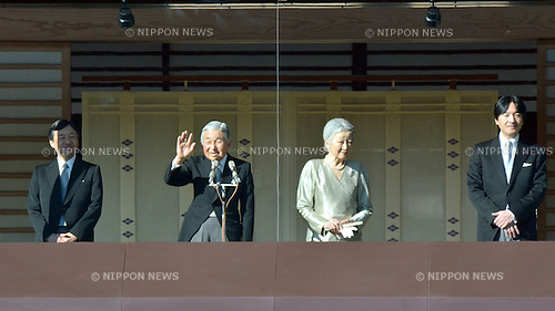 January 2, 2014, Tokyo, Japan - Emperor Akihito, left, and Empress Michiko wave to well-wishers with other members of the royal family from the balcony of the Imperial Palace during a New Year's public appearance in Tokyo on Wednesday, January 2, 2014.  (Photo by Natsuki Sakai/AFLO) AYF -ks-