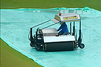 The Blotter is used to dry the covers during Yorkshire CCC vs Essex CCC, Specsavers County Championship Division 1 Cricket at Emerald Headingley Cricket Ground on 13th April 2018