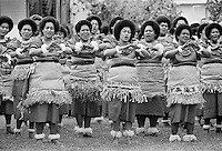 Local women dancing at traditional native kava ceremony at tribal gathering in Fiji, South Pacific