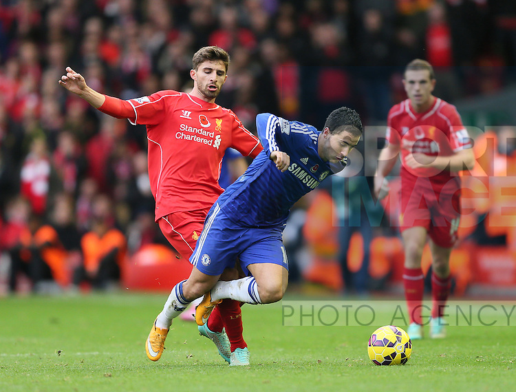 Fabio Borini of Liverpool brings down Eden Hazard of Chelsea - Barclays Premier League - Liverpool vs Chelsea - Anfield Stadium - Liverpool - England - 8th November 2014  - Picture Simon Bellis/Sportimage