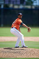 GCL Astros relief pitcher Jervic Chavez (19) delivers a pitch during a game against the GCL Marlins on August 5, 2018 at FITTEAM Ballpark of the Palm Beaches in West Palm Beach, Florida.  GCL Astros defeated GCL Marlins 2-1.  (Mike Janes/Four Seam Images)