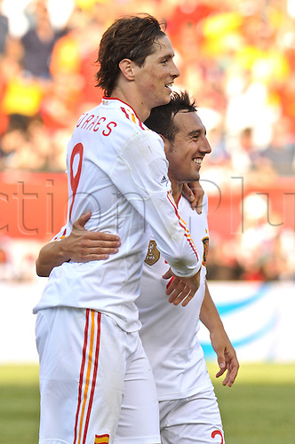 04.06.2011. Spain forward Fernando Torres (9) and teammate Spain midfielder Santiago Cazorla (20)celebrates  after Torres scores the 4th goal of the day during the Spain game against the USA at Gillette Stadium in Foxborough, MA