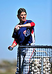 1 March 2010: Washington Nationals Bullpen Coach Jim Lett tosses batting practice during Spring Training at the Carl Barger Baseball Complex in Viera, Florida. Mandatory Credit: Ed Wolfstein Photo