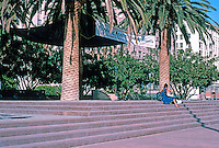 Los Angeles: Pershing Square--Band Shell or Concert Stage. Some old date palms preserved.