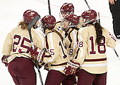 Jackie Young (BC - 25), Emily Field (BC - 15), Dana Trivigno (BC - 8), Emily Pfalzer (BC - 14), Ashley Motherwell (BC - 18) - The Boston College Eagles defeated the visiting University of Maine Black Bears 10-0 on Saturday, December 1, 2012, at Kelley Rink in Conte Forum in Chestnut Hill, Massachusetts.
