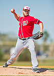 25 February 2016: Washington Nationals pitcher Shawn Kelley throws during the first full squad Spring Training workout at Space Coast Stadium in Viera, Florida. Mandatory Credit: Ed Wolfstein Photo *** RAW (NEF) Image File Available ***