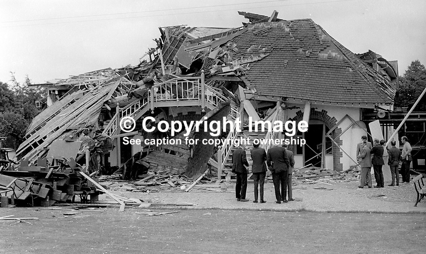 Club members &amp; officials at the scene of Provisional IRA bomb attack which completely destroyed the clubhouse of Belfast Boat Club, N Ireland, August, 1972. 197208000426b<br />