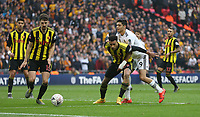 Watford's Etienne Capoue holds off Wolverhampton Wanderers' Raul Jimenez<br /> <br /> Photographer Rob Newell/CameraSport<br /> <br /> Emirates FA Cup Semi-Final  - Watford v Wolverhampton Wanderers - Sunday 7th April 2019 - Wembley Stadium - London<br />  <br /> World Copyright © 2019 CameraSport. All rights reserved. 43 Linden Ave. Countesthorpe. Leicester. England. LE8 5PG - Tel: +44 (0) 116 277 4147 - admin@camerasport.com - www.camerasport.com