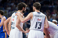 Real Madrid's Sergio Llull and Sergio Rodríguez during Euroleague match at Barclaycard Center in Madrid. April 07, 2016. (ALTERPHOTOS/Borja B.Hojas) /NortePhoto