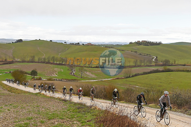 A wet day for the 5000 riders on the muddy gravel roads of Tuscany during the 2017 Strade Bianche Gran Fondo by Trek, running 127km from Siena to Siena, Tuscany, Italy 5th March 2017.<br /> Picture: La Presse/Fabio Ferrari | Newsfile<br /> <br /> <br /> All photos usage must carry mandatory copyright credit (&copy; Newsfile | La Presse)
