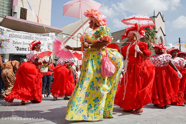 Trinidad Carnival, Junior Traditional Mas parade, girls playing dames lorraines