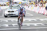 Sergei Ivanov finishes the first stage prologue in the 2009 Tour de France, 4th July 2009 (Photo by Manus OReilly/NEWSFILE)