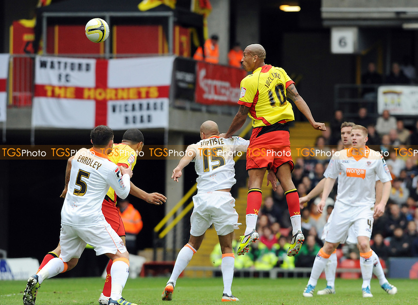 Chris Iwelumo of Watford has a shot on goal - Watford vs Blackpool - nPower Championship Football at Vicarage Road, Watford - 06/04/12 - MANDATORY CREDIT: Anne-Marie Sanderson/TGSPHOTO - Self billing applies where appropriate - 0845 094 6026 - contact@tgsphoto.co.uk - NO UNPAID USE.