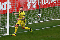 15th March 2020, Wellington, New Zealand;  Phoenix's Gary Hooper turns to celebrates his goal during the A-League - Wellington Phoenix versus Melbourne Victory football match at Sky Stadium in Wellington on Sunday the 15th March 2020.