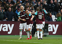 West Ham United's Javier Hernandez celebrates scoring his side's first goal <br /> <br /> Photographer Rob Newell/CameraSport<br /> <br /> The Premier League - West Ham United v Watford - Saturday 10th February 2018 - London Stadium - London<br /> <br /> World Copyright &copy; 2018 CameraSport. All rights reserved. 43 Linden Ave. Countesthorpe. Leicester. England. LE8 5PG - Tel: +44 (0) 116 277 4147 - admin@camerasport.com - www.camerasport.com