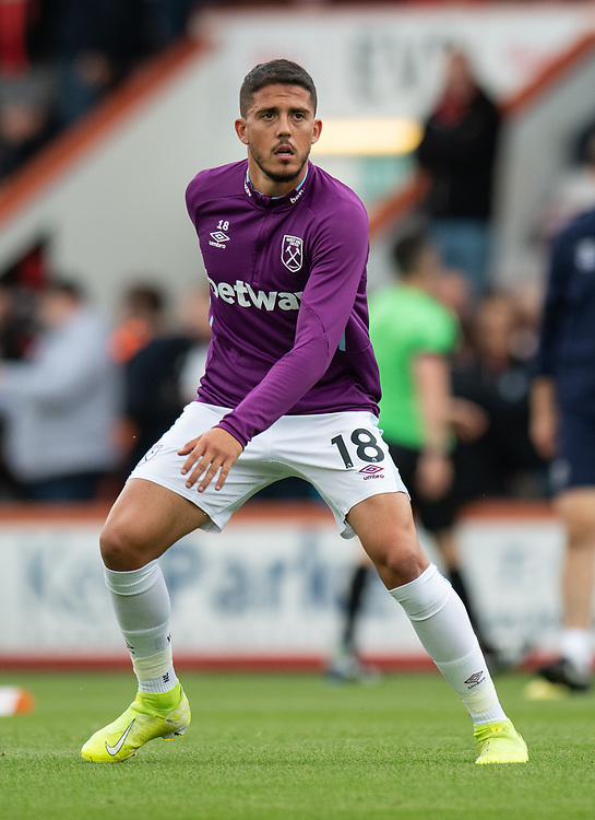 West Ham United's Pablo Fornals during the pre-match warm-up <br /> <br /> Photographer David Horton/CameraSport<br /> <br /> The Premier League - Bournemouth v West Ham United - Saturday 28th September 2019 - Vitality Stadium - Bournemouth<br /> <br /> World Copyright © 2019 CameraSport. All rights reserved. 43 Linden Ave. Countesthorpe. Leicester. England. LE8 5PG - Tel: +44 (0) 116 277 4147 - admin@camerasport.com - www.camerasport.com