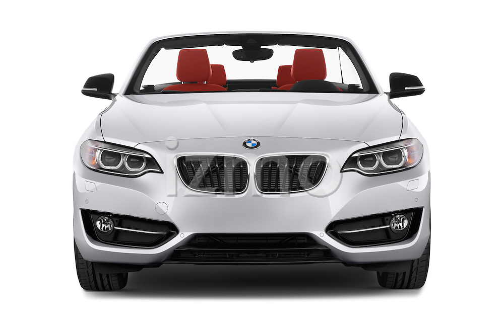 Car photography straight front view of a 2017 BMW 2-Series 230i 2 Door Convertible Front View